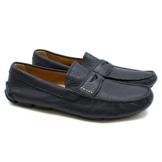 Prada Navy Leather Men's Loafers
