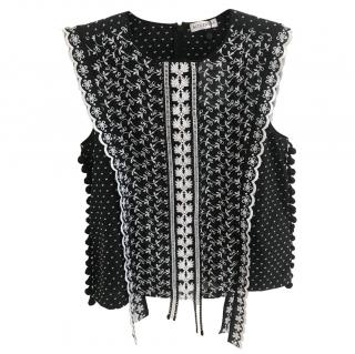 Altuzzara sleeveless black lace top