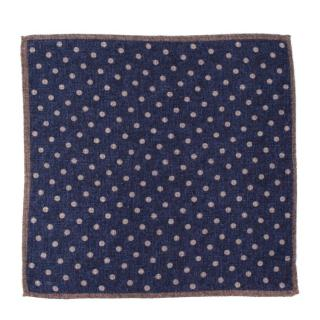 Di Maestro Wool Navy Polka dot Pocket Square