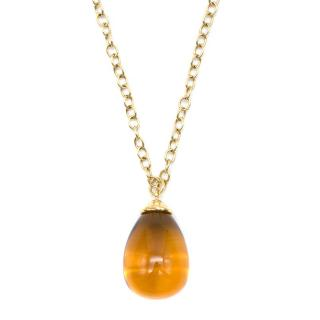 Tiffany & Co Paloma Picasso Gold Citrine Drop Pendant Necklace
