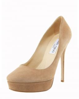 Jimmy Choo 'Cosmic' Suede Platform Nude Pumps