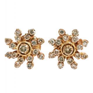 Bespoke 18ct Yellow Gold Champagne Diamond Swirl Stud Earrings