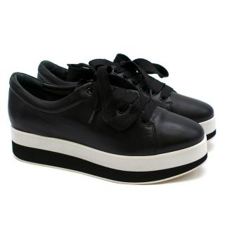 Uterque Black Leather Platfrom Trainers