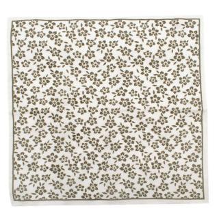 Ruda White Linen Floral Pattern Pocket Square