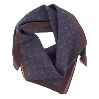 Anderson & Shepard Cotton Navy Pattern Square Scarf