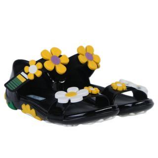 Prada Patent Leather Floral Embellished Sandals