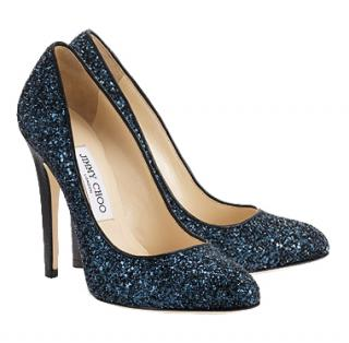 Jimmy Choo victoria navy coarse glitter pumps
