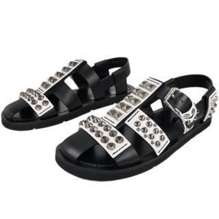 Prada men's black & white Leather Studded Sandals