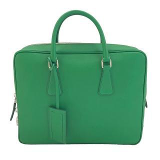 Prada Green Saffiano Leather Briefcase
