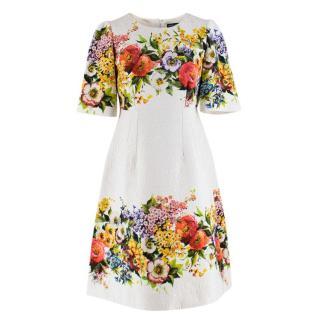 Dolce & Gabbana Jacquard Floral Print Dress
