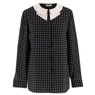 Saint Laurent Black Polka Dot Silk Shirt