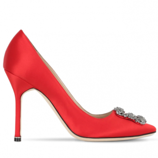 Manolo Blahnik Red Satin Hangisi Pumps