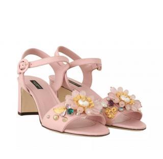 Dolce & Gabbana pink crystal embellished sandals
