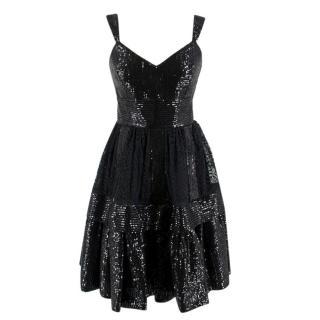 Elie Saab Black Sequin & Lace Layered Mini Dress