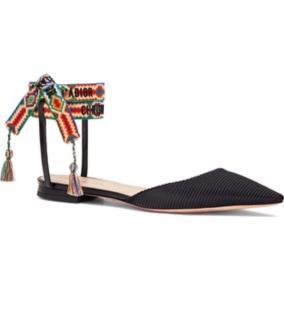Dior J'adior Open Back Canvas Ballerina