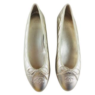 Chanel Gold Lambskin Quilted Ballerina Flats