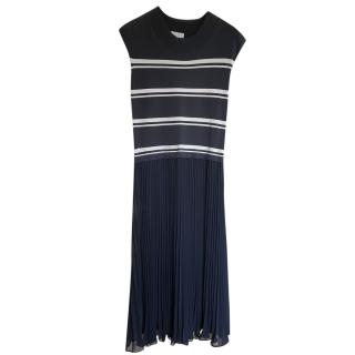 Escada Navy Pleated Midi Dress