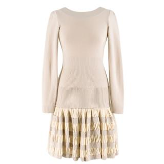 Alaia Ruffle Skirt Wool blend Knit Dress