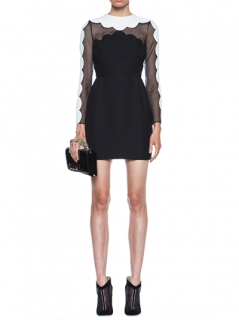 Valentino Scallop Edge Tulip Wool-Blend Dress