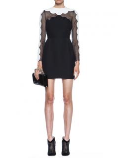 Valentino Scallop Edge Tulip Wool-Blend Dress