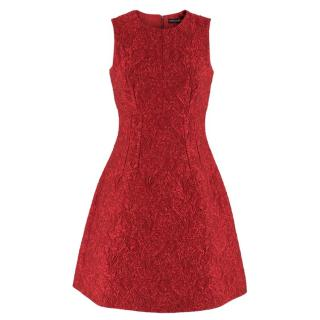 Dolce & Gabbana Red Floral Brocade Dress
