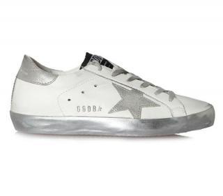 Golden Goose Deluxe Superstar Sparkle Silver Star Sneakers