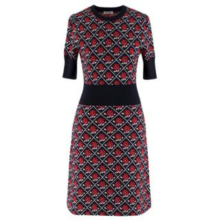 Miu Miu Red & Navy Wool Knit Dress