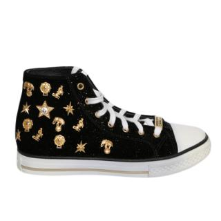 Roberto Cavalli Embellished Velvet High Top Sneakers