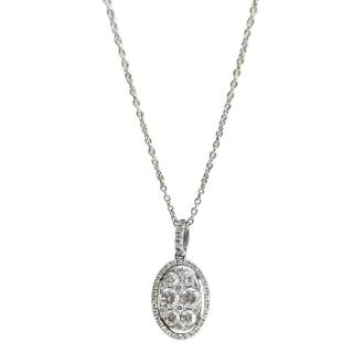 Bespoke 18ct White Gold Diamond Cluster Pendant Necklace