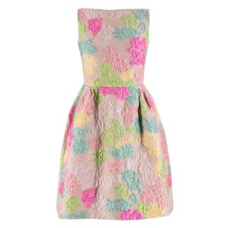 Valentino Blush Multi-Colour Floral Brocade Silk Dress