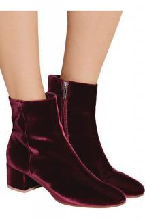 Gianvito Rossi Burgundy Velvet Margaux Ankle Boots