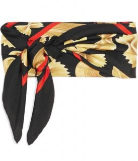 Dolce & Gabbana black pasta print scarf