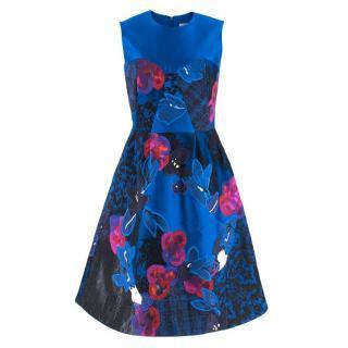 Erdem Floral Embroidered Blue Jacquard Dress