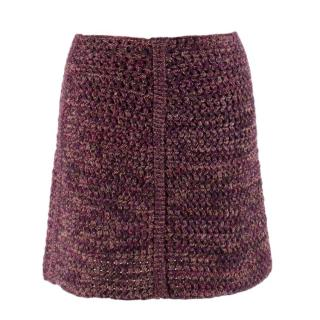 Prada Tweed Wool Knit Mini Skirt