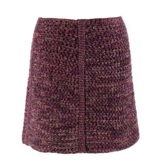 Prada Tweed Wool Knit Mini Skirt