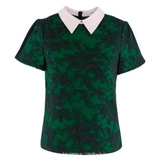 Erdem Navy & Green Wool Embroidered Top W/ Baby Pink Collar
