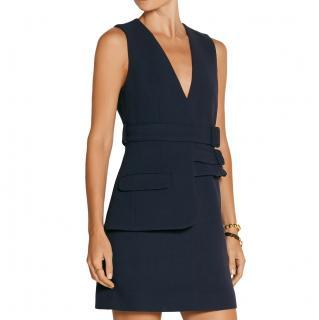 Victoria Victoria Beckham Blue Belted Wool-crepe Mini Dress