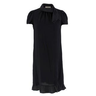 Prada Black Lightweight Crepe de Chine Shift Dress