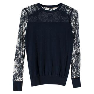 Erdem Navy Wool & Lace Sweater