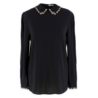 Miu Miu Black Crepe Floral Crystal Embellished Shirt
