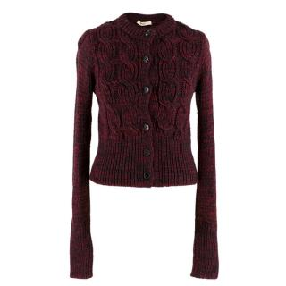 Prada Red & Black Wool Cable Knit Crop Cardigan