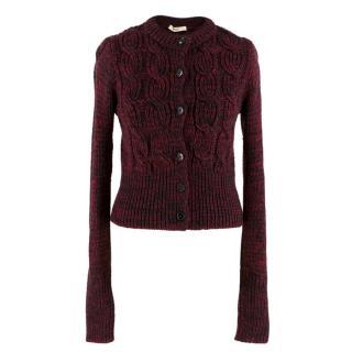 Prada Red & Black Wool Cable Knit Crop Cardigan