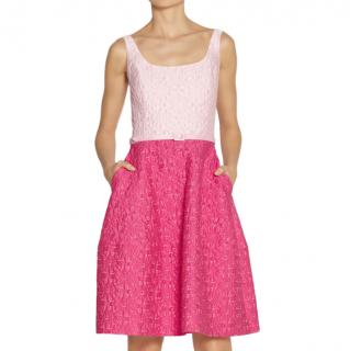 Oscar de la Renta Pink Two-Tone Brocade Sleeveless Dress