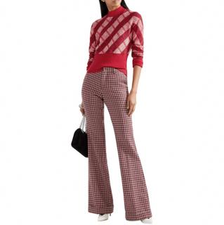 Miu Miu Red Check Mohair Crop Knit Sweater