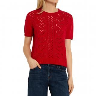 Miu Miu Pointelle-knit Cashmere Sweater - Red