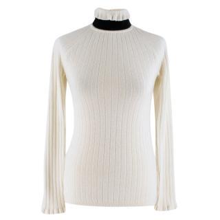 Erdem High Neck Wool Blend Open Back Sweater
