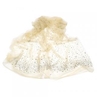 Bespoke Nude Tulle Crystal Embellished Wrap Shawl