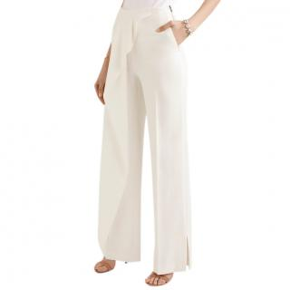 Roland Mouret White Draped Wide Leg Trousers