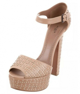 Alaia Nude Lasercut Platform Sandals
