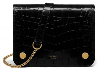 Mulberry Black Mock Croc Clifton Shoulder Bag